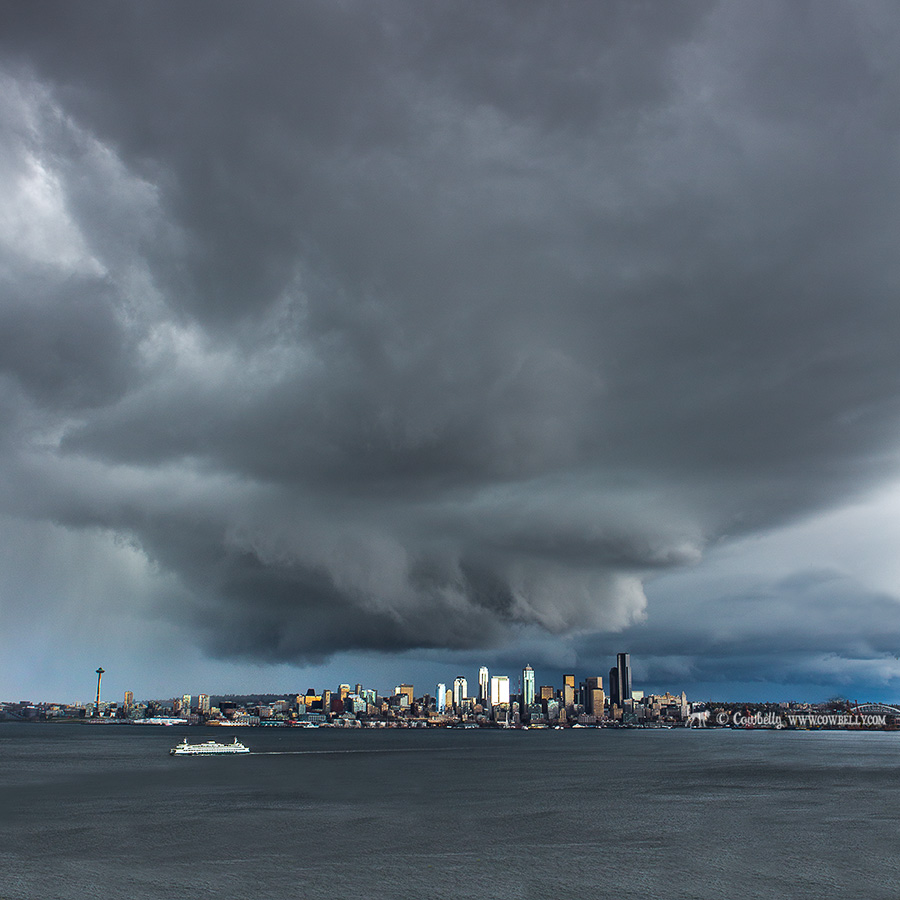 stormy downtown seattle cityscape skyline